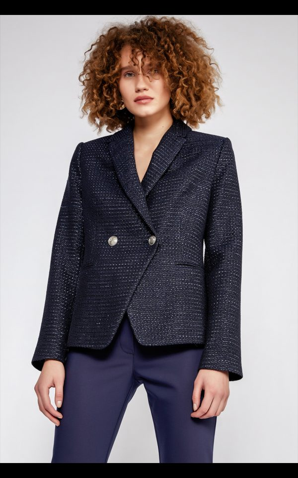 Perspective Clothing Gille Jacket in navy tweed