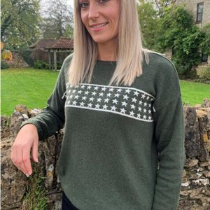 Luella Lizzie Stars Jumper in Khaki and Ivory