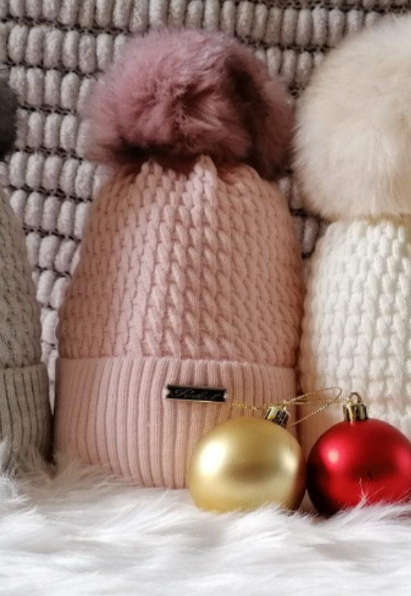 Pale Pink Pom Pom hat