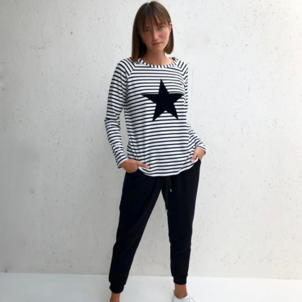 Chalk Tasha Top in Black/White Stripe Star