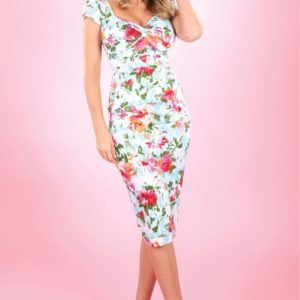 Stop staring water colour summer floral fitted dress