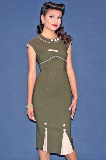 Stop staring bombshell army green fitted dress