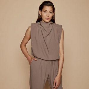 Access Fashion Sleeveless Taupe Drape Blouse