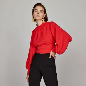 Access Fashion Short Red Blouse with Basque