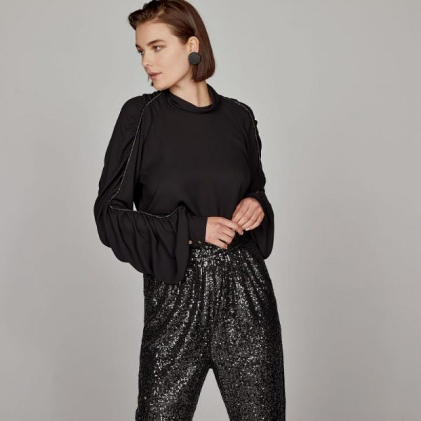 Access Fashion Strass Piping Detail Black Blouse