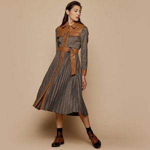 Access Fashion Pleated Check Dress in Camel