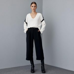 Access Fashion Black Cropped Pants with turn up hems