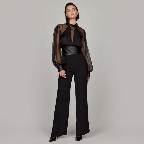 Access Fashion Wide-Leg Pants in Black