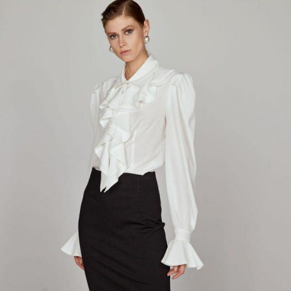 Access Fashion White Shirt with Ruffles