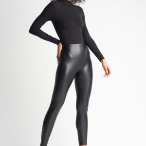 Yummie Black Faux Leather Shaping Legging with Ankle Zip