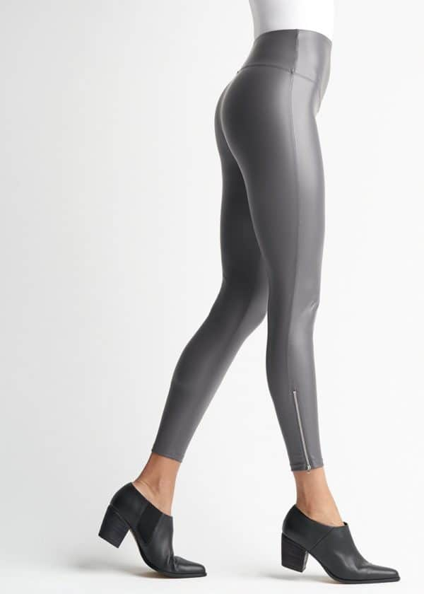 Yummie Grey Faux Leather Shaping Legging with Ankle Zip