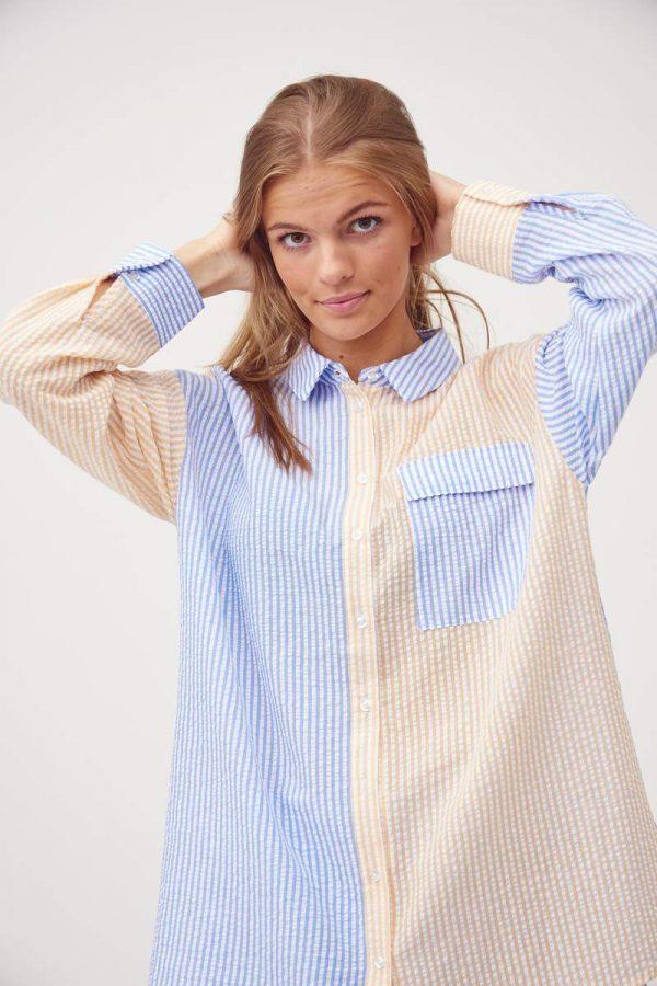 A-View Mila Shirt in Light blue/Yellow