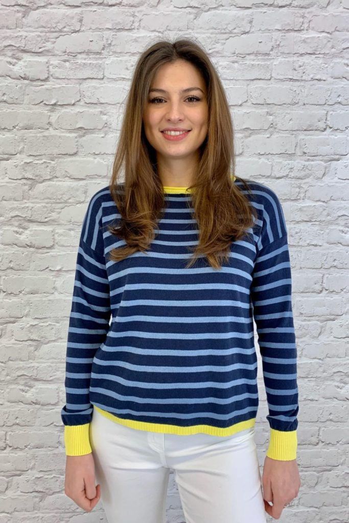 Luella Brittany Jumper in Navy\Denim\Yellow