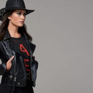 Cigno Nero Klara black leather jacket