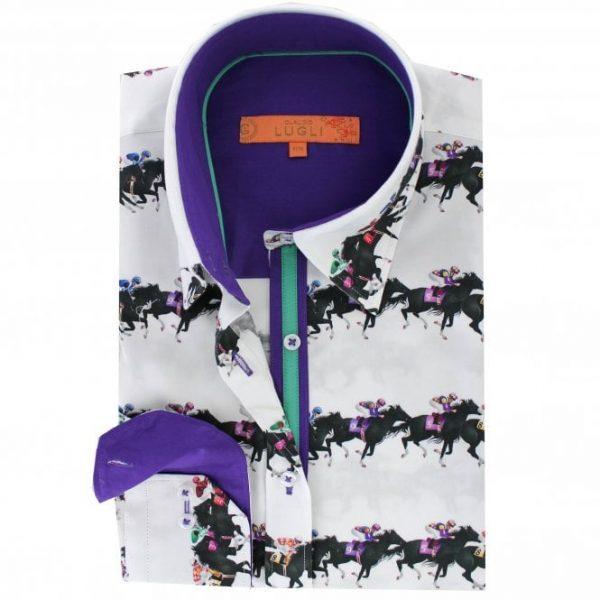 CLaudio Lugli Ladies Horse Race Print Shirt