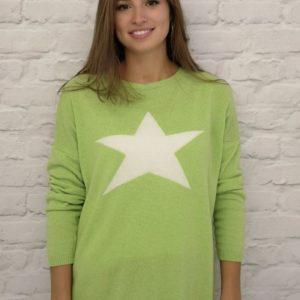 Luella Classic Star Jumper in Lime\Cream