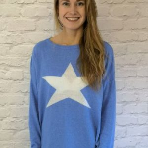 Luella Classic Star Jumper in Sea Blue\White
