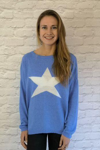 Luella Classic Star Jumper in Sea Blue\White