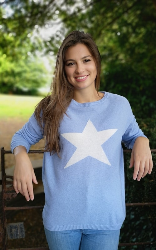 Luella Classic Star Jumper Baby Blue/Ivory