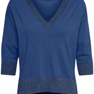 Cream Simona V Neck Pullover Dark Denim