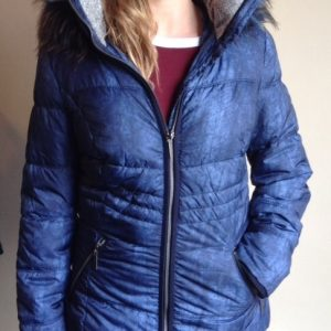 District puffer jacket in denim blue