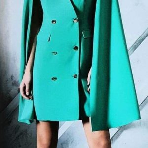 Laura Bernal Green Cape Dress