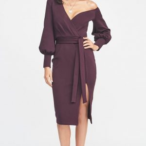 Lavish Alice One Shoulder Balloon Sleeve Dress