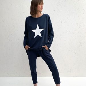 Chalk Clothing Robyn Navy Top White Star