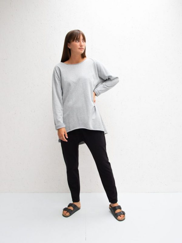 Chalk Clothing Layla Top Marl Grey with Black Print