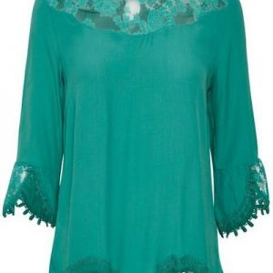 Cream Kalanie Blouse Bottle Green