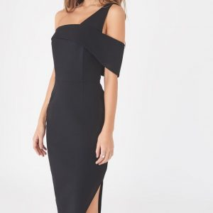 Lavish Alice one shoulder detail midi dress in black