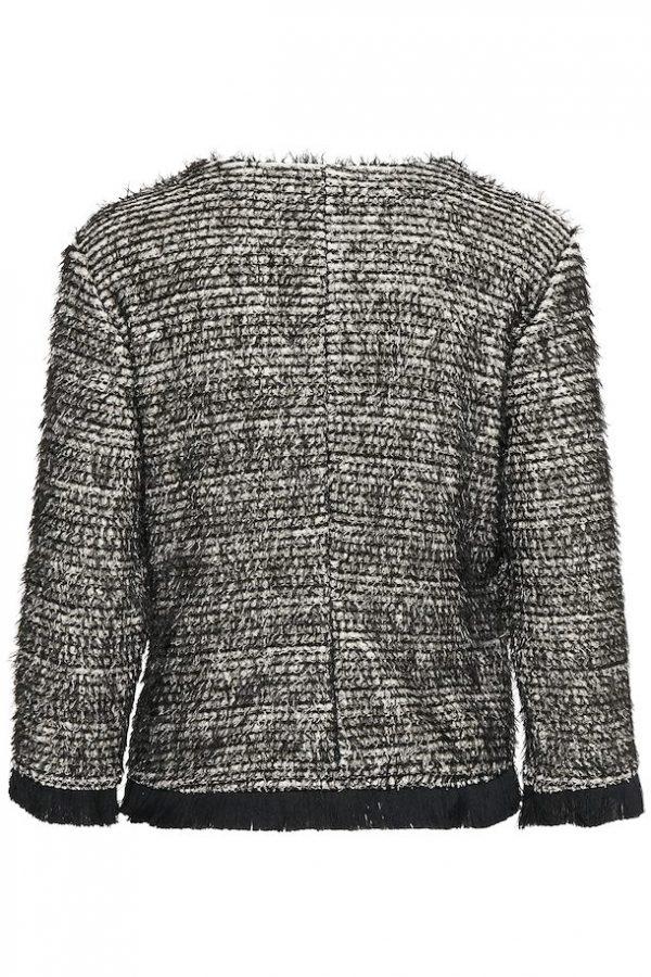 Cream Nandy Tweed Jacket Pitch Black