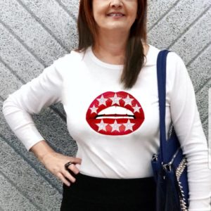 Gina Potter Long Sleeve Red Star Lips t-shirt