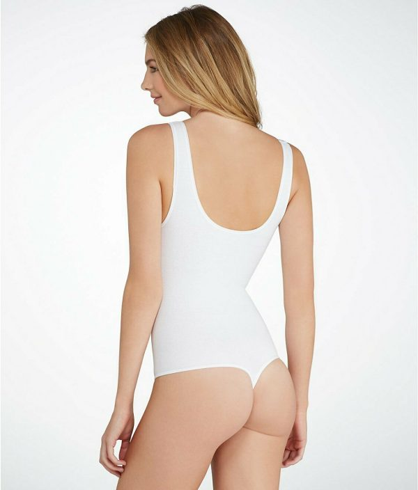 Yummie Ruby Cotton Shaping Thong Back Bodysuit White