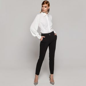 Access Fashion Black Crepe Straight Pants