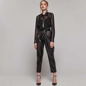 Access Fashion Black High Waist Eco-Leather Trousers