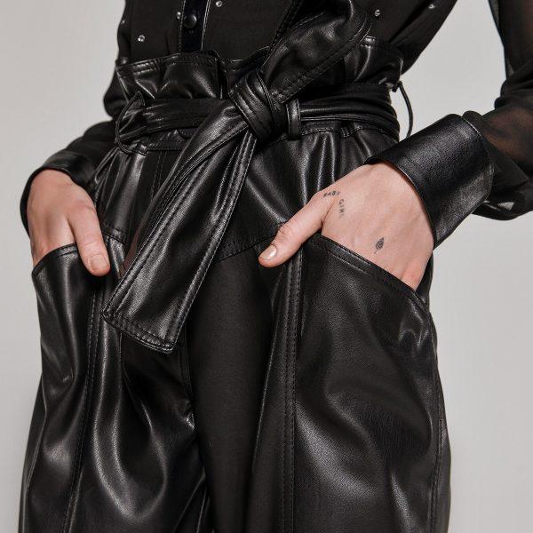 Access Fashion Black High Waist Eco-Leather Trousers