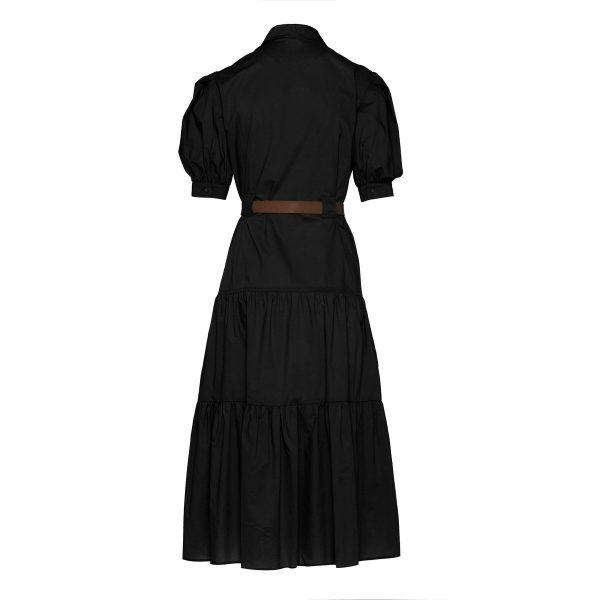 Access Fashion Ruffled Hem Dress in Black