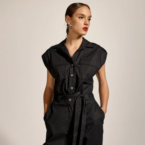 Access Jumpsuit with pockets and cuffed hem in Black