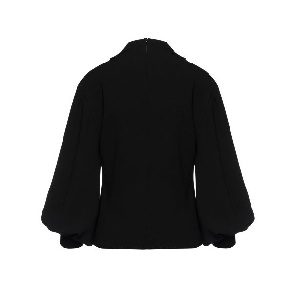Access Fashion Drape Detail Black Blouse with Puff Sleeve