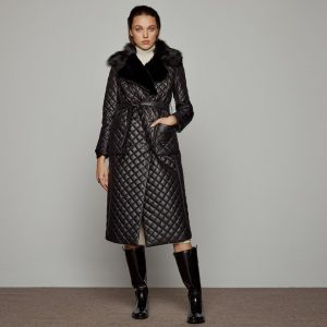Access Fashion Long Quilted Black Jacket