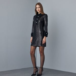 Access Fashion Black Sequin Dress with Collar