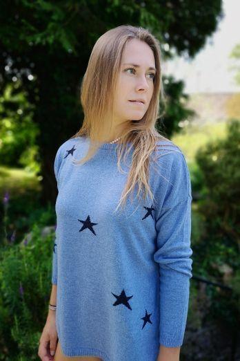 Luella Scatter star jumper in Denim/Navy